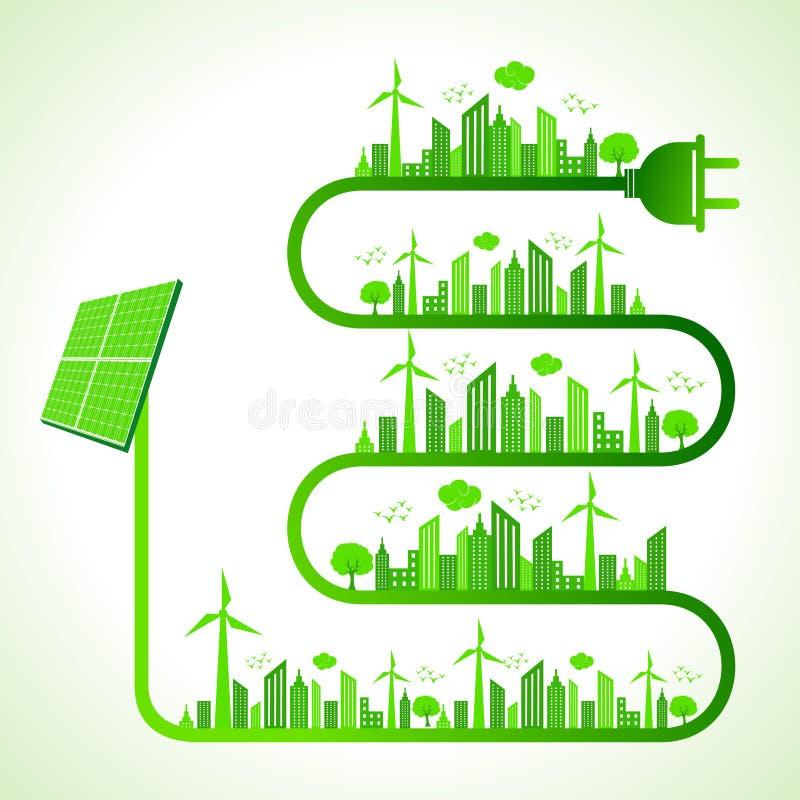Concepto de la ecología con el panel solar - ahorre la naturaleza stock de ilustración
