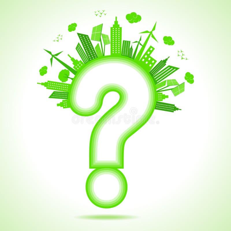 Concepto de la ecología con el signo de interrogación - ahorre la naturaleza ilustración del vector