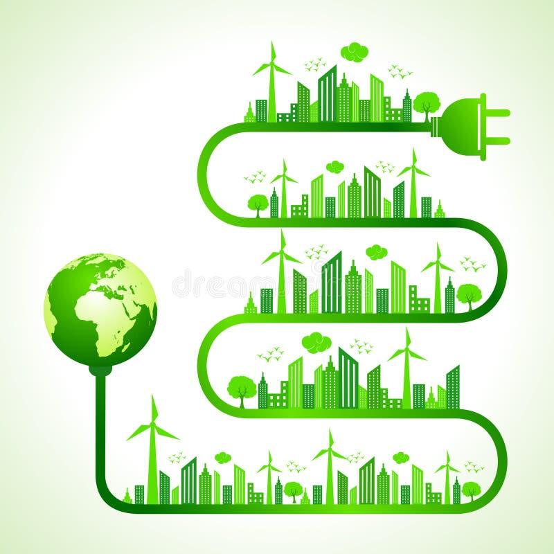 Concepto de la ecología con la naturaleza de la reserva del icono de la tierra libre illustration