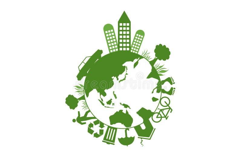 Concepto de la ecología de la tierra stock de ilustración