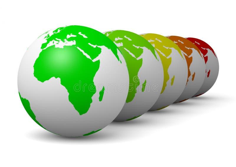 Concepto de la ecología del verde de la serie del globo stock de ilustración