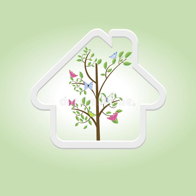 Concepto de la ecología, madera dentro de una casa, diseño moderno de la plantilla del ejemplo del vector stock de ilustración