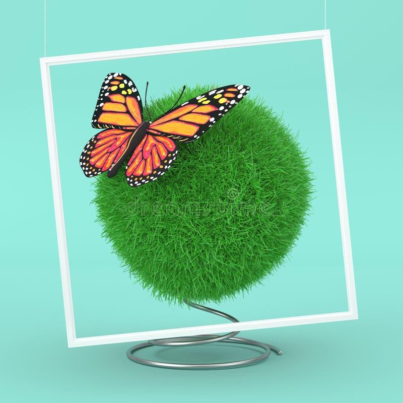 Concepto de la ecología Mariposa linda con colores amarillos y anaranjados sobre bola de la hierba verde representación 3d ilustración del vector