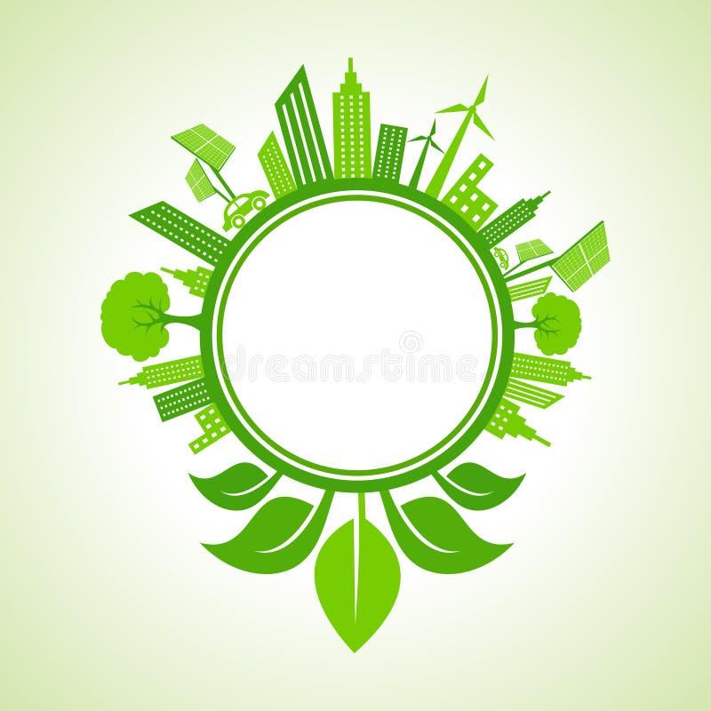 Concepto de la ecología - paisaje urbano del eco con la hoja alrededor del círculo ilustración del vector