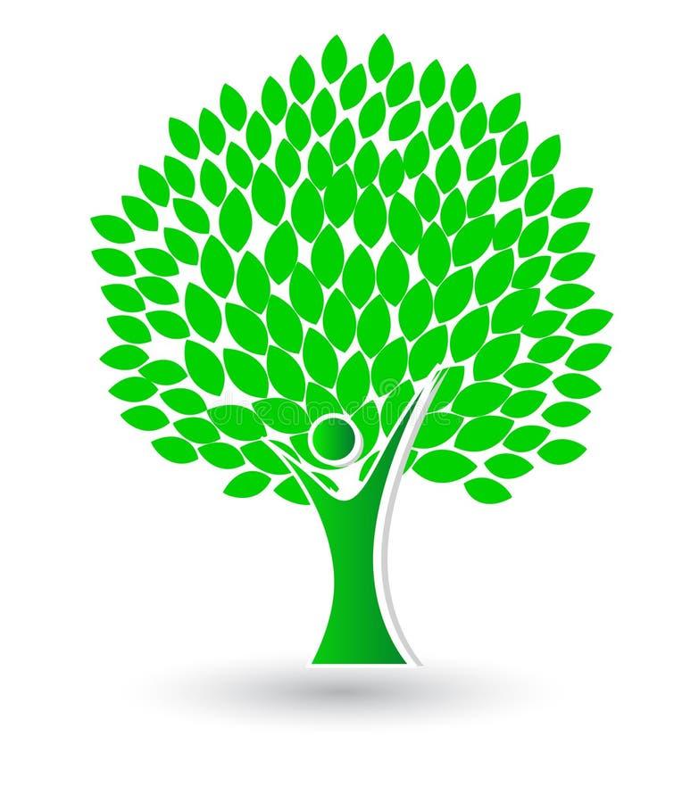 Concepto de la ecología Plantilla del logotipo del árbol del verde de Eco stock de ilustración