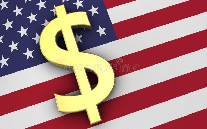 Concepto de la economía de los E.E.U.U. con el icono de los dólares y la bandera de los E.E.U.U. ilustración del vector