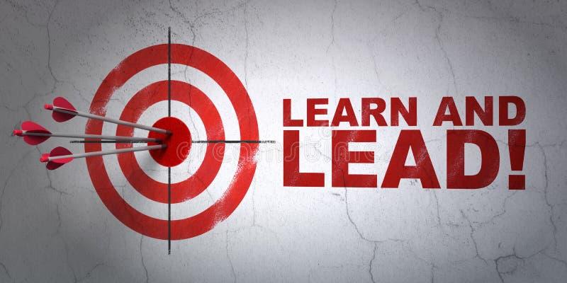 Concepto de la educación: ¡apunte y aprenda y lleve! en fondo de la pared imagen de archivo libre de regalías