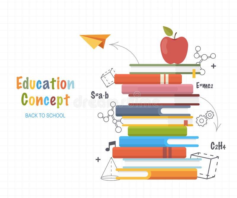 Concepto de la educación Apile los libros con fórmulas del dibujo lineal de los garabatos y formas geométricas De nuevo al fondo  stock de ilustración