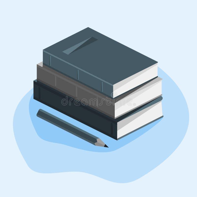 Concepto de la educaci?n, curso del estudio, pila de libros, l?piz En un fondo blanco con s?mbolos matem?ticos Imagen del vector ilustración del vector