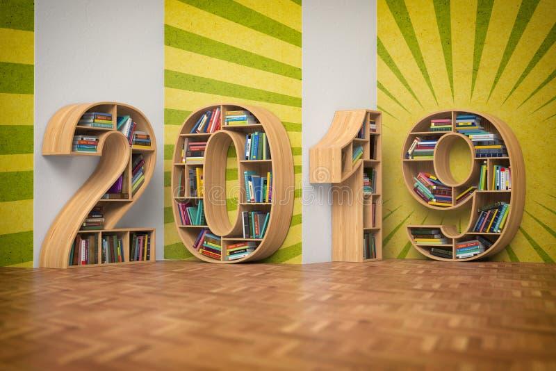 concepto de la educación del Año Nuevo 2019 Bookshelvs con los libros en las FO libre illustration