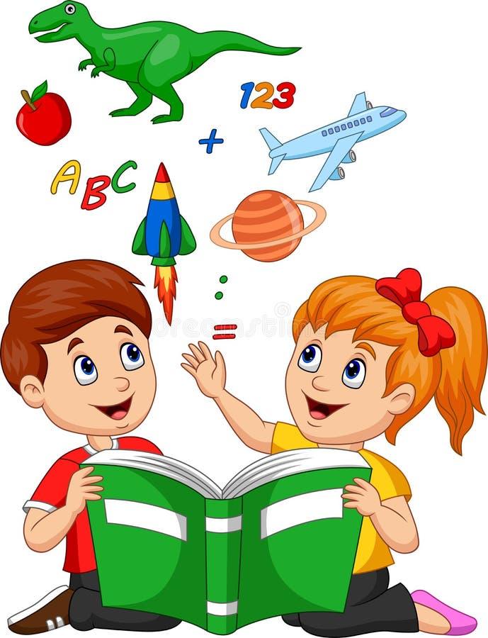 Concepto de la educación del libro de lectura de los niños de la historieta con la manzana, el dinosaurio, el planeta Saturn, el  stock de ilustración