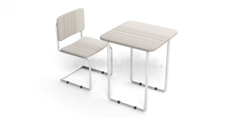 Concepto de la educación Escritorio blanco y silla del estudiante, aislados contra el fondo blanco, recorte ilustración del vector