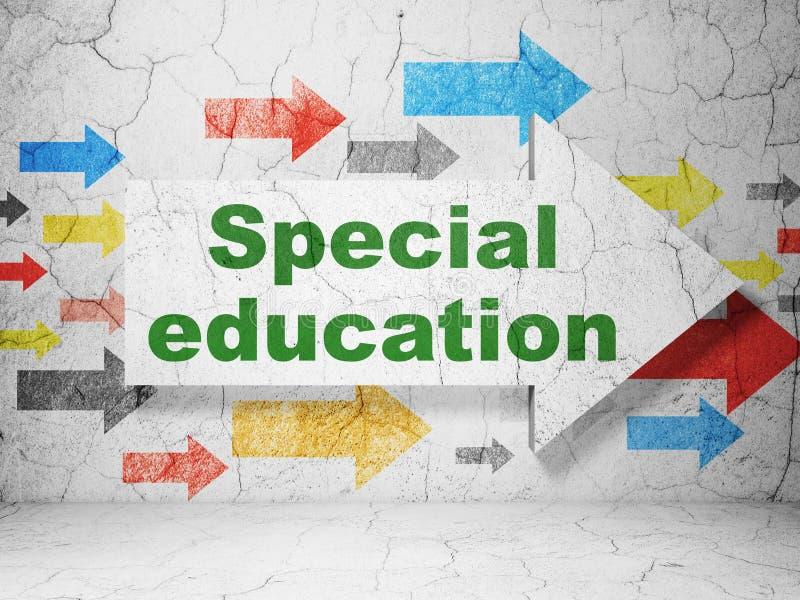 Concepto de la educación: flecha con la educación especial en fondo de la pared del grunge stock de ilustración