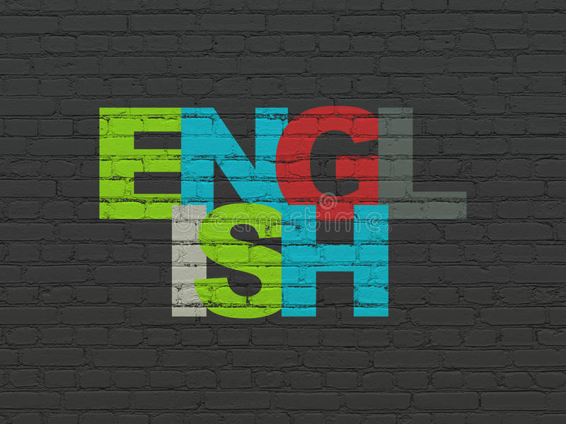 Concepto de la educación: Inglés en fondo de la pared libre illustration