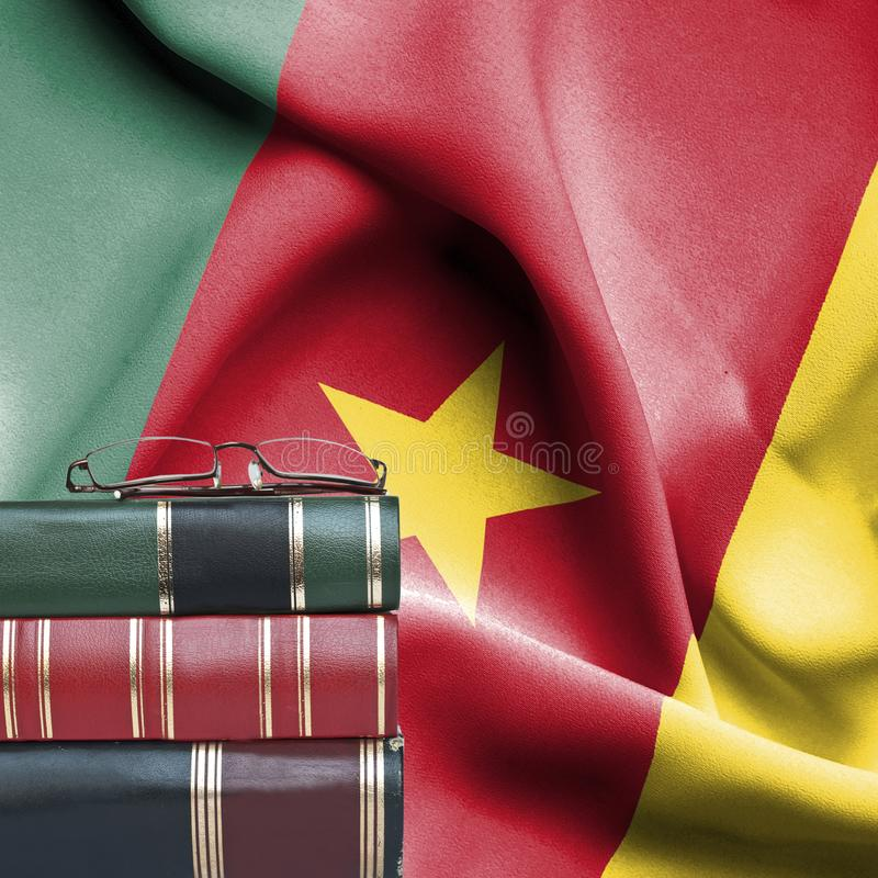 Concepto de la educación - pila de libros y de vidrios de lectura contra la bandera nacional del Camerún foto de archivo