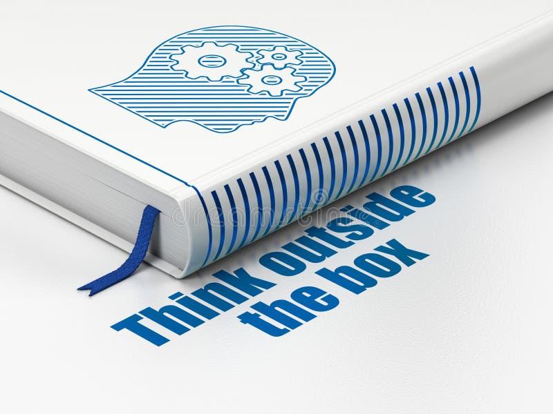 Concepto de la educación: reserve la cabeza con los engranajes, piense fuera de la caja en el fondo blanco fotos de archivo