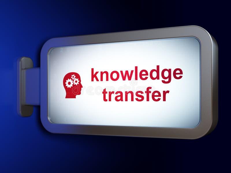 Concepto de la educación: Transferencia y cabeza del conocimiento con los engranajes en fondo de la cartelera stock de ilustración