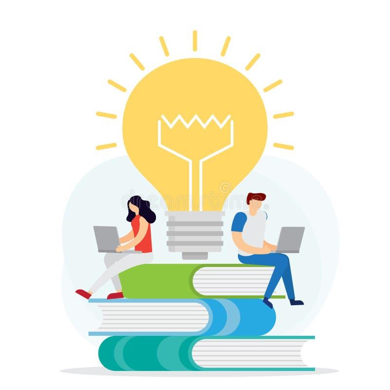 Concepto de la educaci?n a distancia Conocimiento en línea, aprendizaje electrónico, tutoriales libre illustration