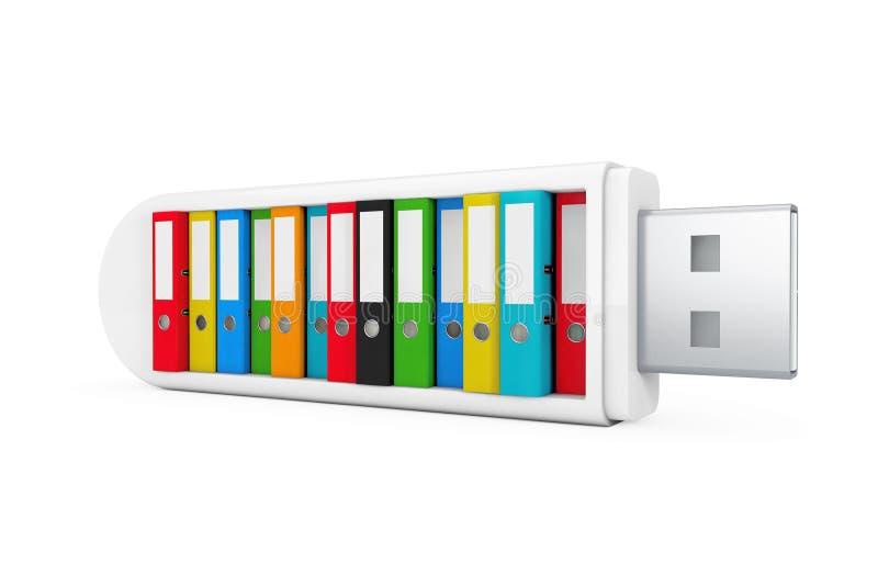 Concepto de la empresa informática Carpetas coloridas de la oficina en flash del USB libre illustration