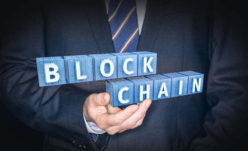 Concepto de la encripción de Blockchain foto de archivo
