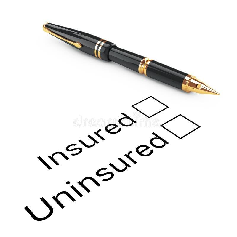 Concepto de la encuesta Asegurados o lista de control sin seguro con fuente de oro ilustración del vector