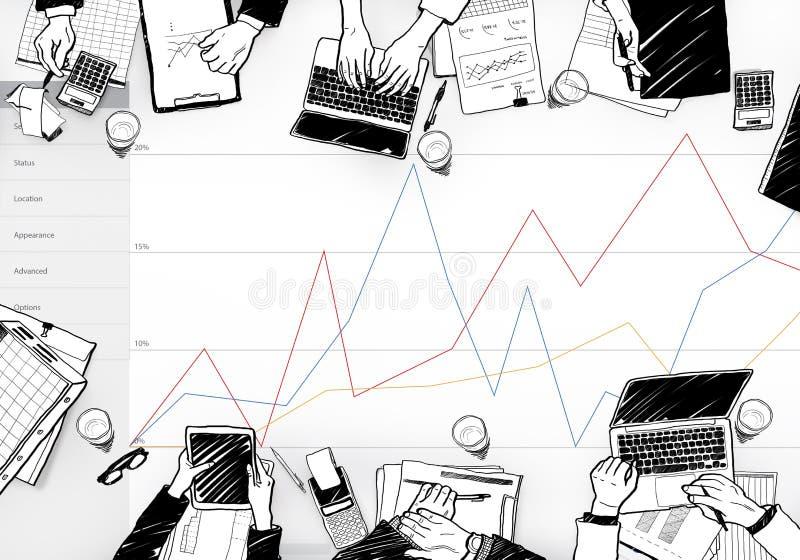 Concepto de la encuesta sobre el comentario de los resultados de la reacción del negocio ilustración del vector