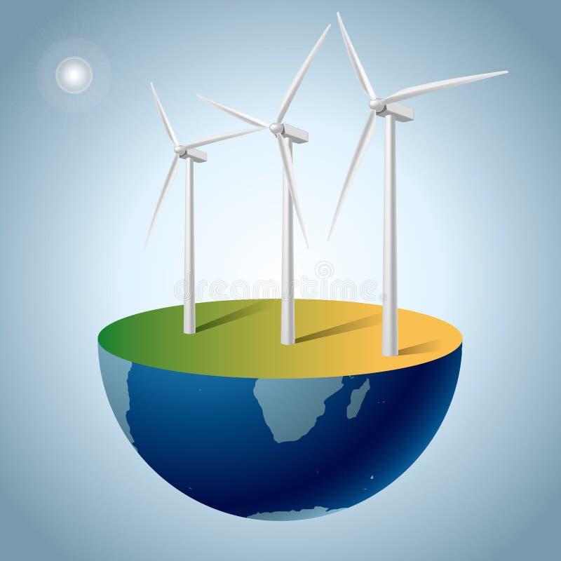 Concepto de la energía alternativa, generadores de viento en la tierra stock de ilustración