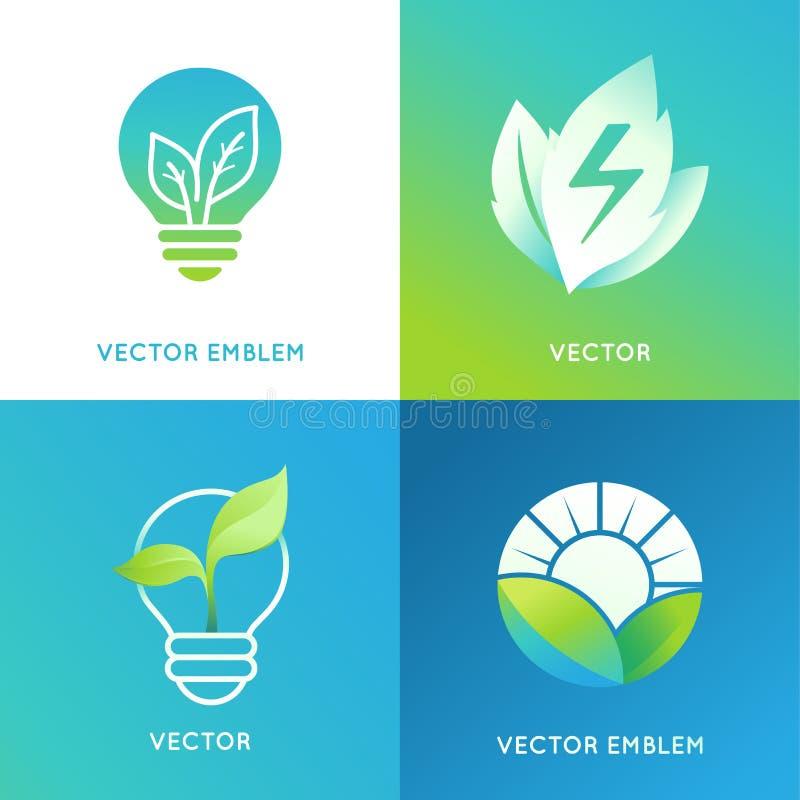 Concepto de la energía de Eco - iconos de la bombilla con las hojas verdes stock de ilustración