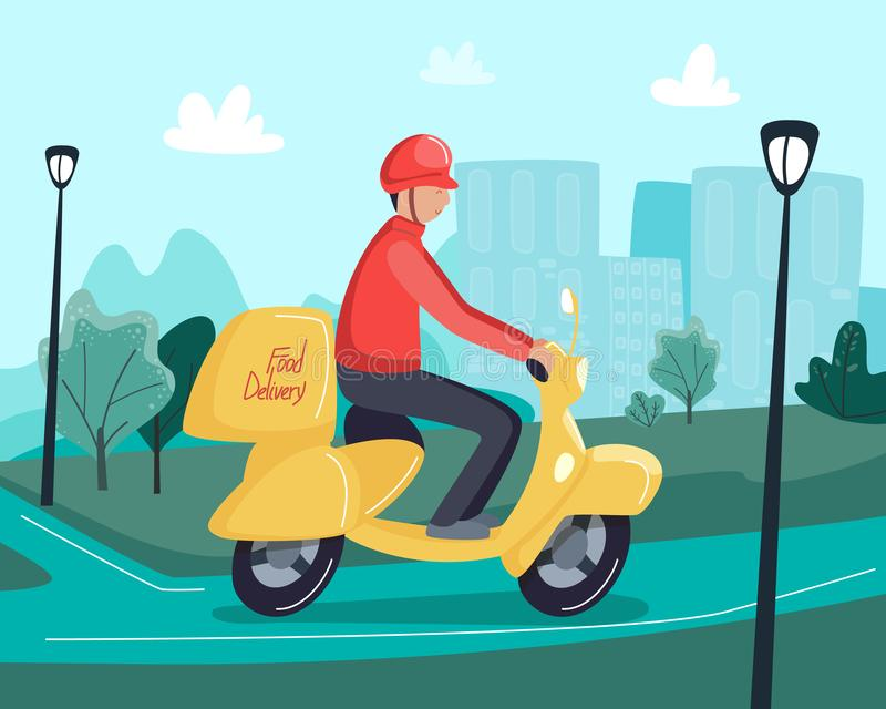 Concepto de la entrega de la comida Montar a caballo del hombre en la vespa o la motocicleta, entregando los alimentos de prepara ilustración del vector