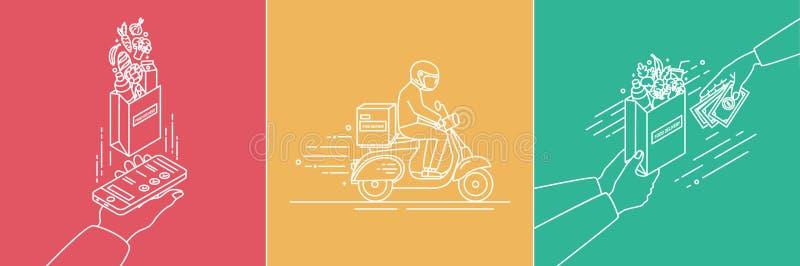 Concepto de la entrega de la comida Ejemplo de Lineart fijado en estilo plano stock de ilustración