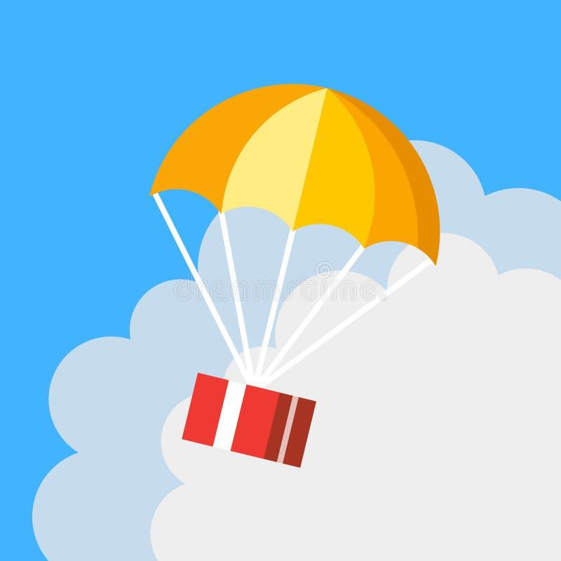 Concepto de la entrega, icono del paracaídas Vuelo de la caja de regalo en cielo azul stock de ilustración