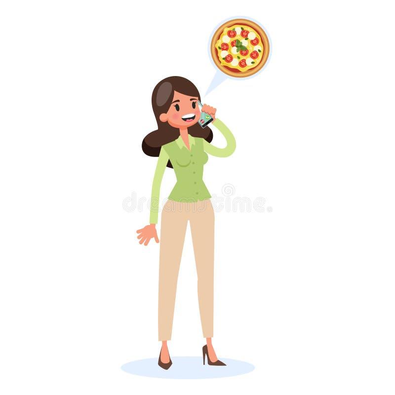 Concepto de la entrega de la pizza Orden de la comida por el teléfono móvil stock de ilustración