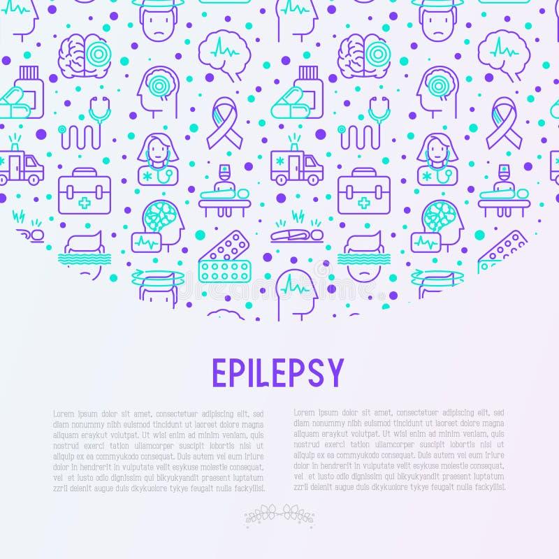 Concepto de la epilepsia con la línea fina iconos ilustración del vector