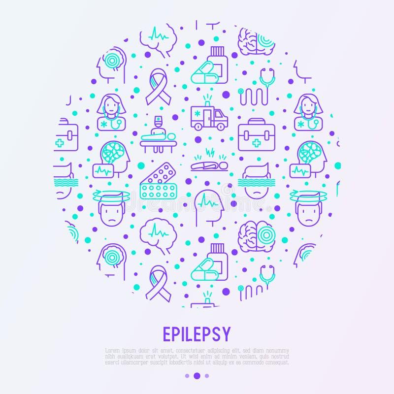 Concepto de la epilepsia en círculo con la línea fina iconos stock de ilustración