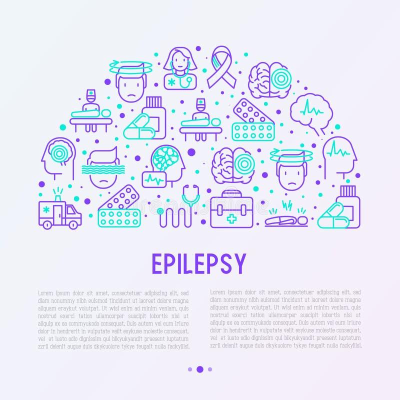 Concepto de la epilepsia en semi-círculo stock de ilustración