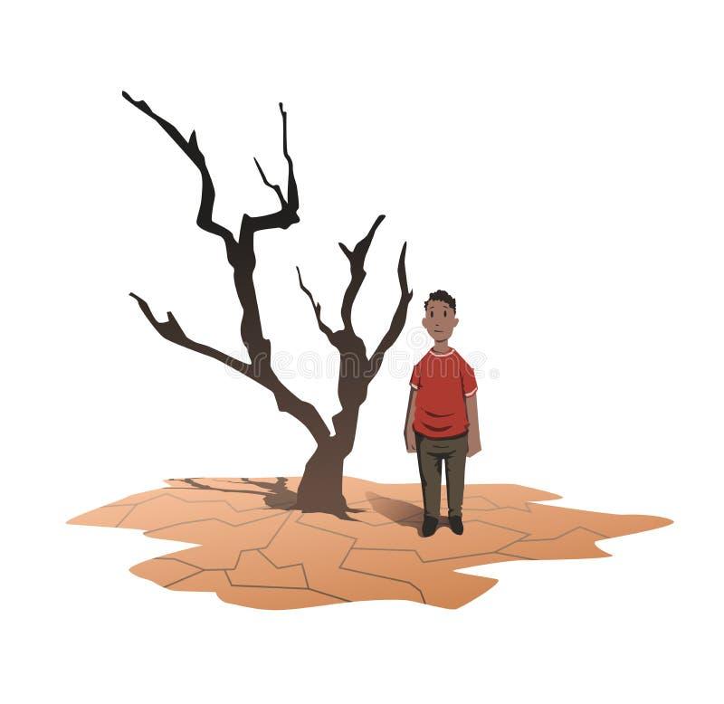Concepto De La Escasez Del Agua Un Hombre Africano Se Coloca Al Lado ...
