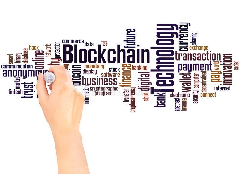 Concepto de la escritura de la mano de la nube de la palabra de la tecnología de Blockchain ilustración del vector