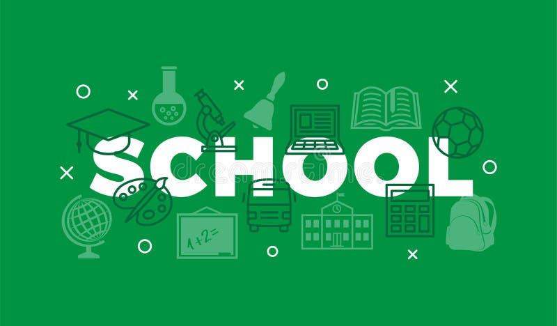 Concepto de la escuela con los iconos y las muestras stock de ilustración
