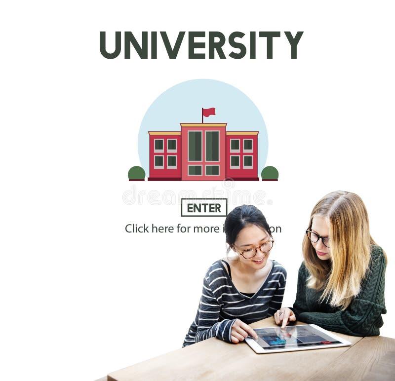 Concepto de la escuela del conocimiento de la educación del campus universitario imagen de archivo
