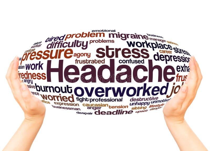 Concepto de la esfera de la mano de la nube de la palabra del dolor de cabeza libre illustration