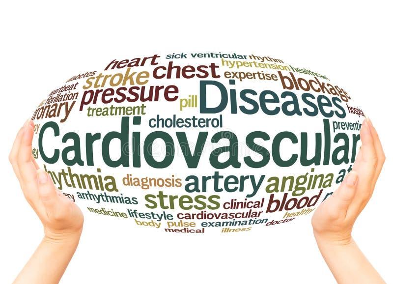 Concepto de la esfera de la mano de la nube de la palabra de las enfermedades cardiovasculares imagen de archivo libre de regalías