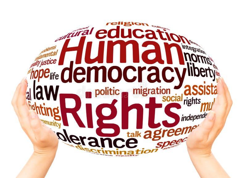 Concepto de la esfera de la mano de la nube de la palabra de los derechos humanos foto de archivo
