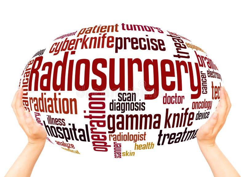 Concepto de la esfera de la mano de la nube de la palabra de Radiosurgery fotos de archivo libres de regalías