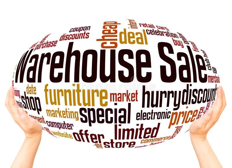 Concepto de la esfera de la mano de la nube de la palabra de la venta de Warehouse ilustración del vector