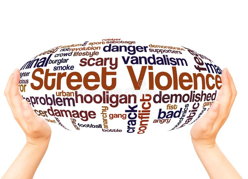 Concepto de la esfera de la mano de la nube de la palabra de la violencia de la calle ilustración del vector
