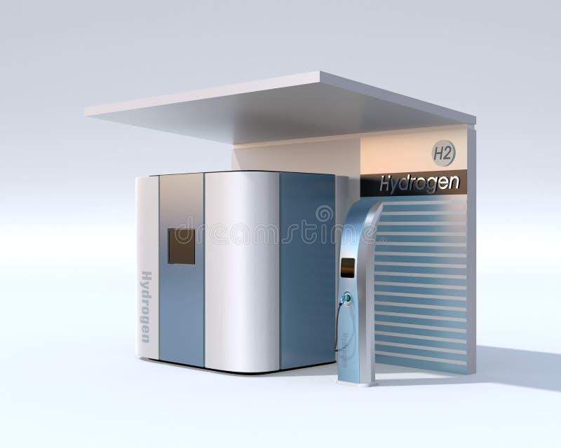 Concepto de la estación del hidrógeno de la pila de combustible ilustración del vector