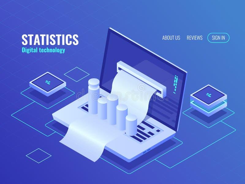 Concepto de la estadística y del análisis, resultado de proceso de datos, informe económico, cuenta del electrón, vector isométri ilustración del vector