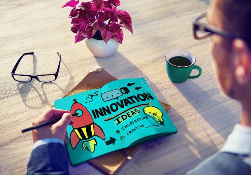 Concepto de la estrategia de la misión de la creatividad del plan empresarial de la innovación foto de archivo