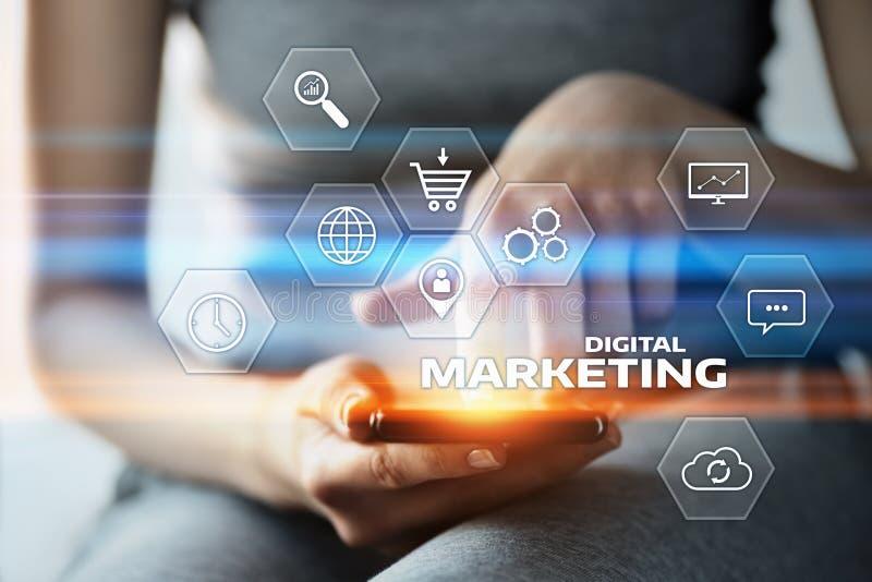 Concepto de la estrategia de la publicidad del planeamiento del contenido del márketing de Digitaces fotografía de archivo