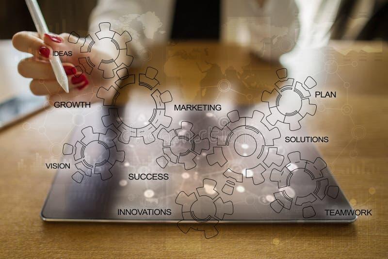 Concepto de la estrategia empresarial con el diagrama de los engranajes Motivación de la innovación de la idea fotos de archivo libres de regalías